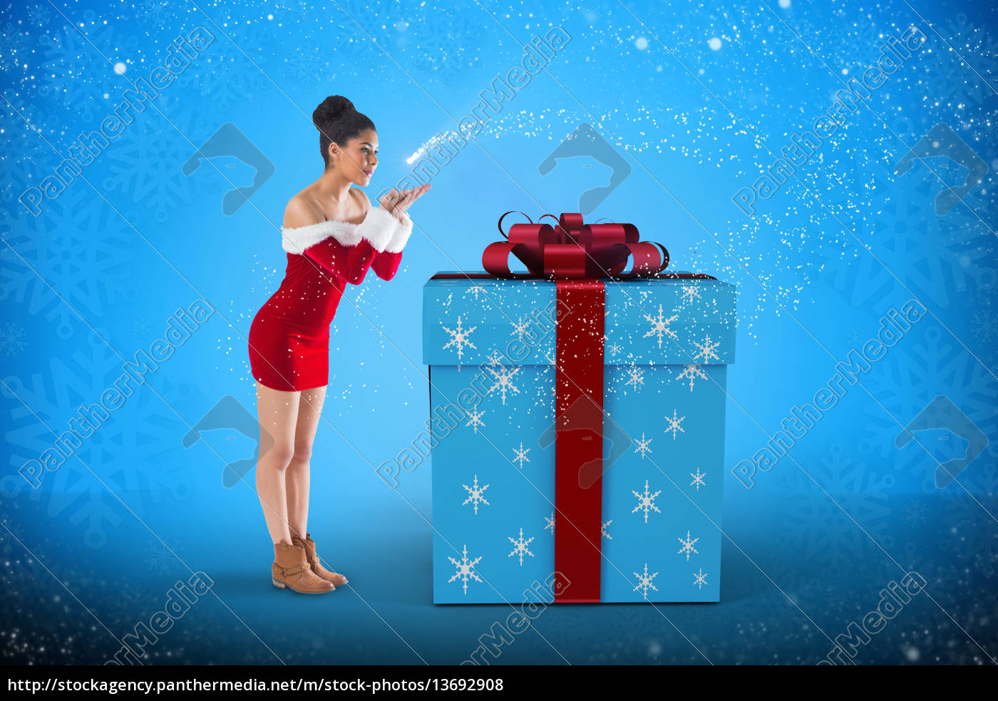 composite, image, of, pretty, santa, girl - 13692908