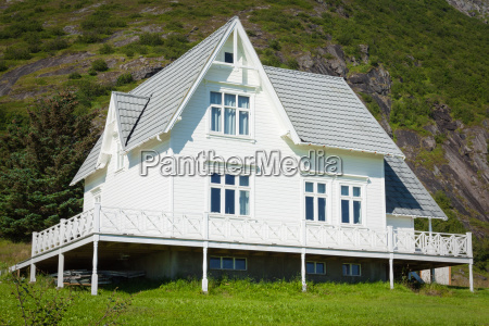 old wooden architecture in norway white