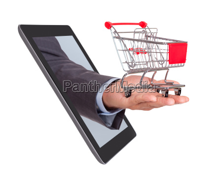 hand with shopping cart coming from