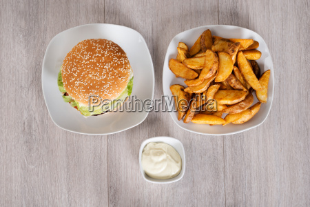 delicious, burger, and, fried, potatoes, served - 13696152