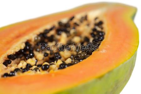 papaya details of a halved fruit