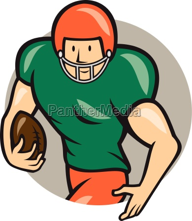 american football running back circle cartoon