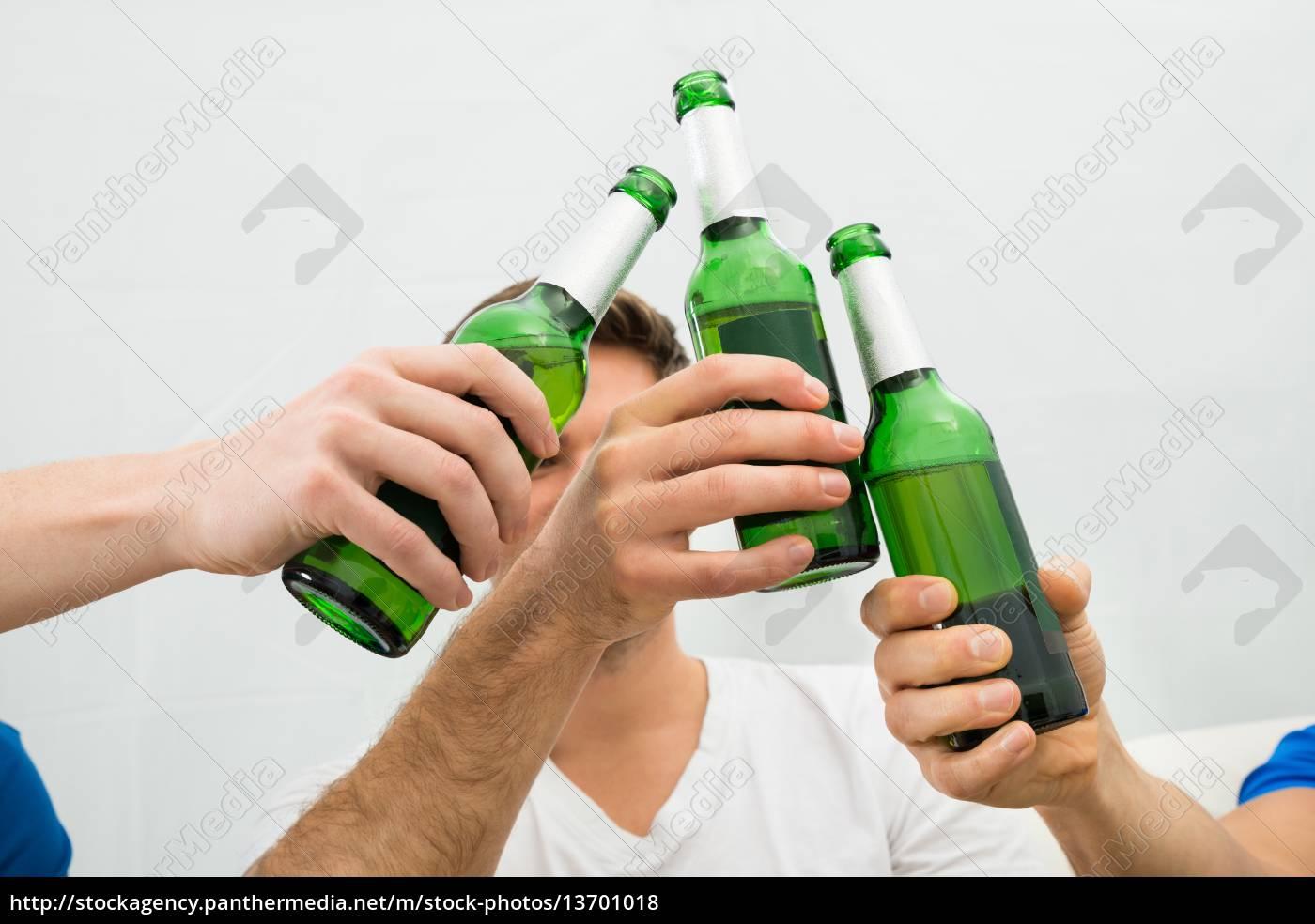 people, toasting, beer, bottles - 13701018