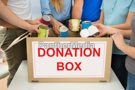 people, with, donation, box, holding, cans - 13701134