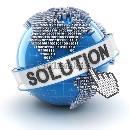 it solution symbol with digital globe