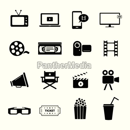 set of black flat icons related