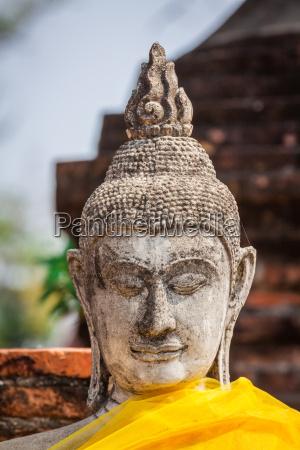 of buddha statue in ayutthaya thailand