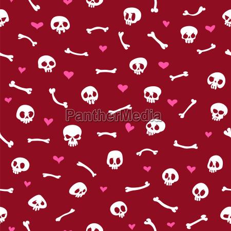 cartoon, skulls, with, hearts, on, red - 13712056