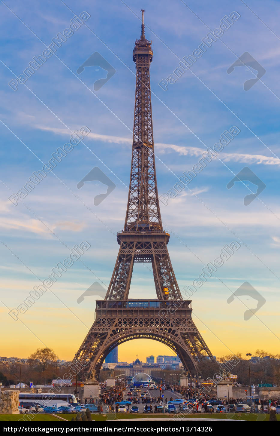 eiffel, tower, at, winter, suset, in - 13714326