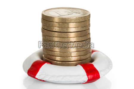 stack of coins with lifebelt