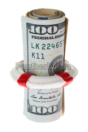 life belt protecting banknote