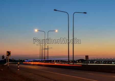 light trails on the street at