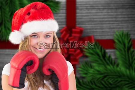 composite image of festive blonde with