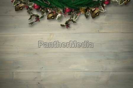 composite image of festive christmas wreath