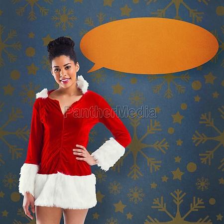 composite image of pretty santa girl