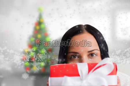 composite image of woman holding a