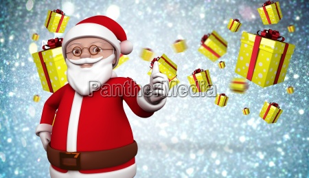 composite image of cute cartoon santa