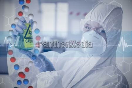 composite image of scientist in protective
