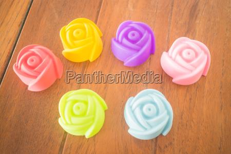 rose shape of gelatin print on
