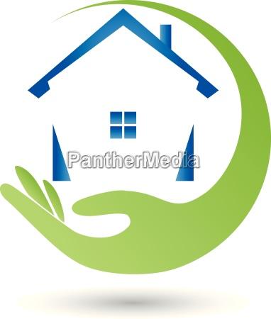logo property house hand