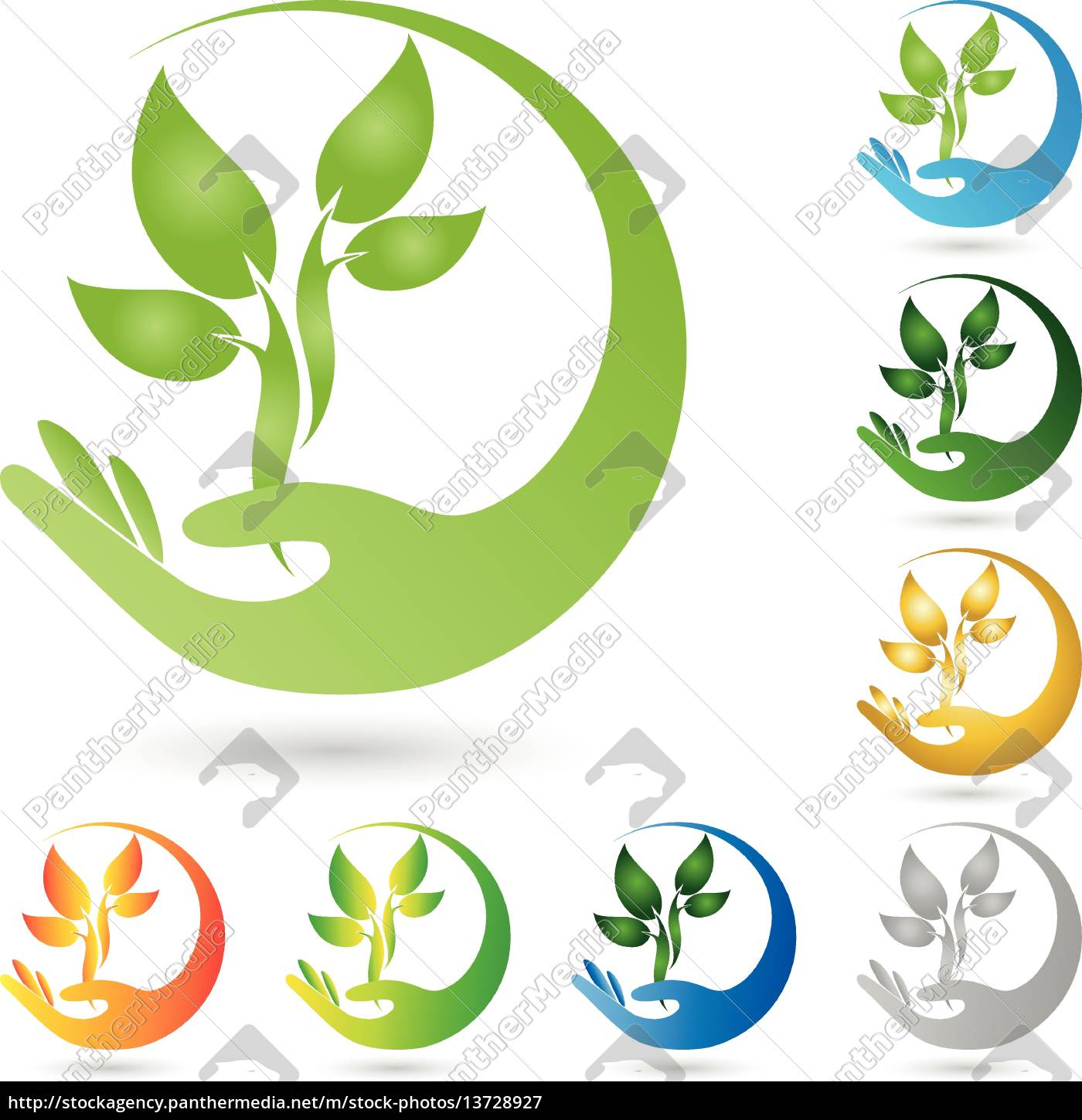 logo, plant, leaves, hand, naturopaths - 13728927
