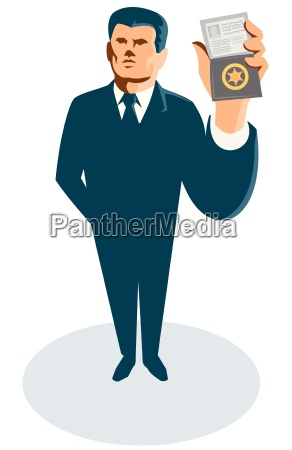 businessman secret agent id card badge