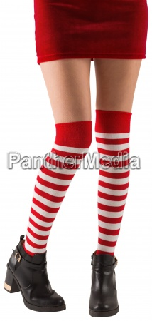 santa girl wearing stripey socks