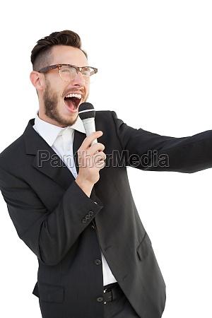 enthusiastic speaker talking in microphone
