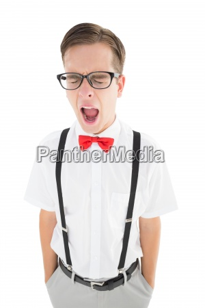 nerdy hipster yawning in suspenders and