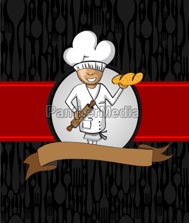 baker cartoon menu design