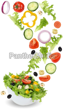 healthy vegetarian dining salad with tomato