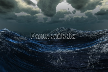 stormy sea under dark sky