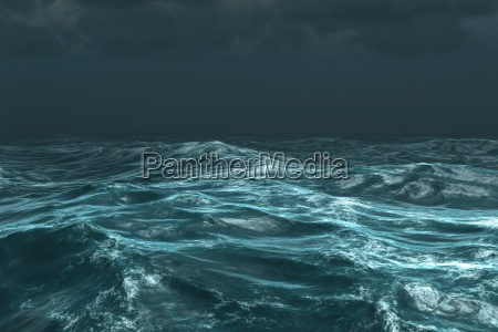 rough stormy ocean under dark sky