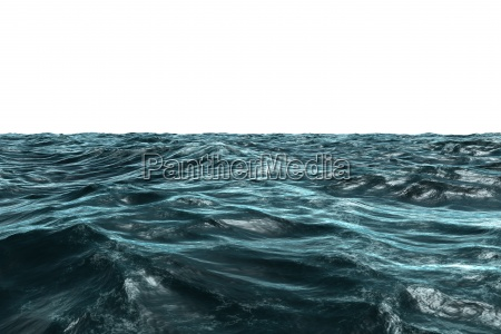 digitally generated blue rough ocean