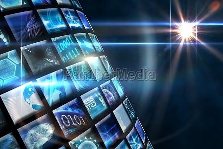 curve of digital screens in blue