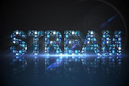 stream made of digital screens in