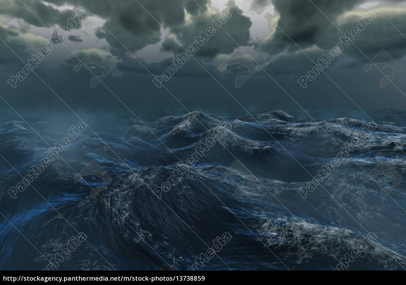 rough, stormy, ocean, under, dark, sky - 13738859