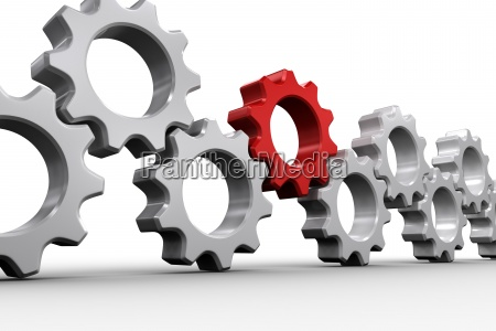 red and white cogs and wheels
