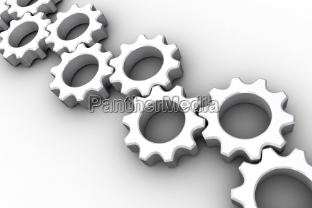 many white cogs and wheels