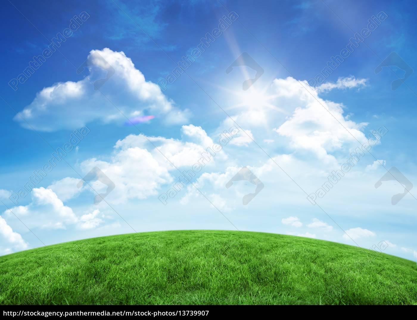 green, hill, under, blue, sky - 13739907