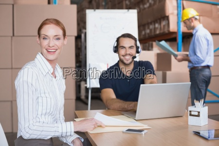 warehouse team working together on shipment