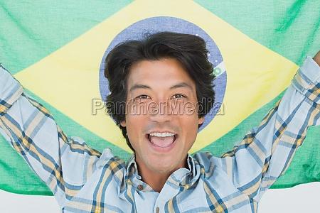 brazilian football fan cheering