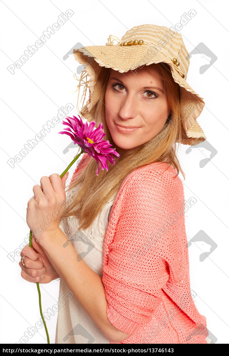 young, funky, girl, with, flower - 13746143