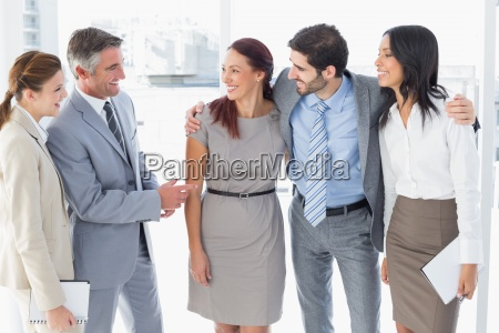 business, team, chatting, and, smiling - 13748891