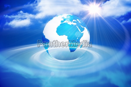 digitally generated earth with blue light