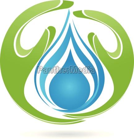 logo hands drops water
