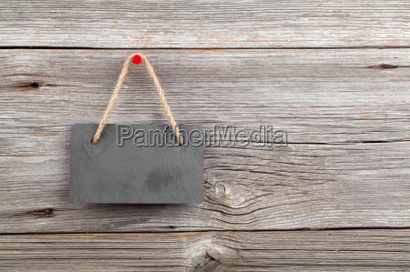 black board of slate on old