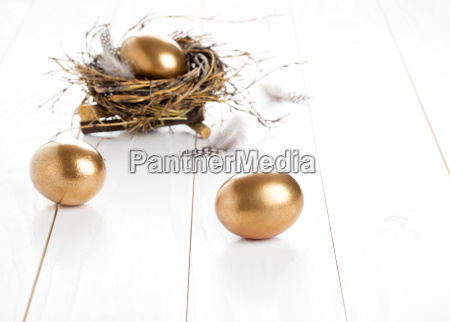 golden egg on white wooden background