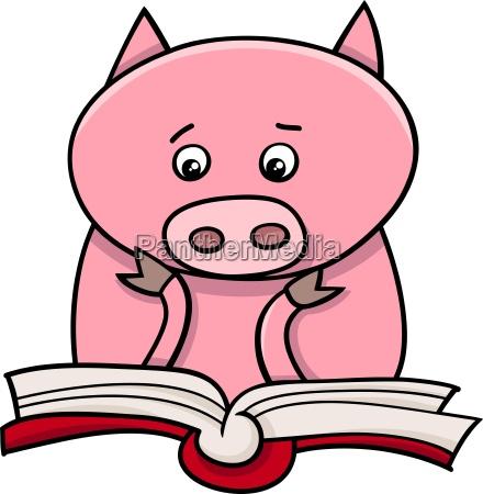 learning piglet cartoon illustration