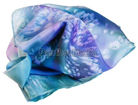 silk scarf painted by blue batik